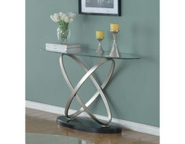 Brassex Chantal glass top Sofa Table with Black base and metal legs SIC275S-BLK