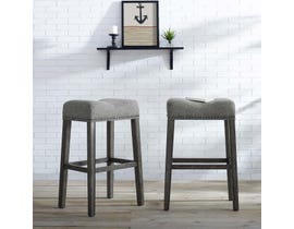 "Brassex Oakland Collection wood 30"" saddle bar stool (set of 2) in grey SIC6364"