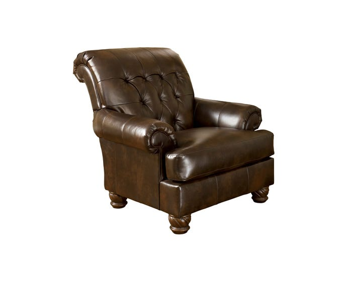 Stupendous Signature Design By Ashley Fresco Durablend Faux Leather Accent Chair In Brown 6310021 Creativecarmelina Interior Chair Design Creativecarmelinacom