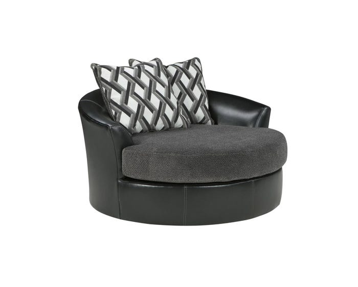 Outstanding Signature Design By Ashley Fabric And Leather Oversized Swivel Accent Chair In Black 3220221 Ncnpc Chair Design For Home Ncnpcorg