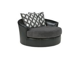 Signature Design by Ashley fabric and leather Oversized Swivel Accent Chair in black 3220221