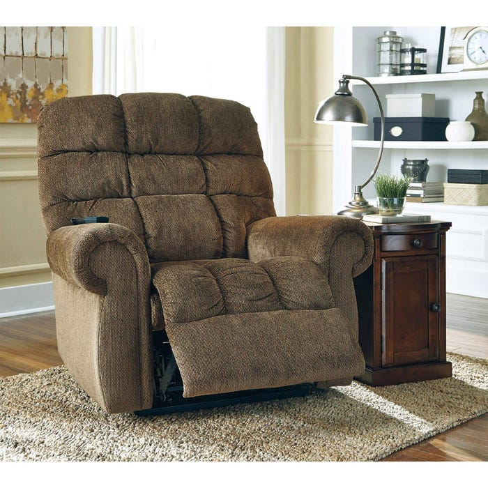 Incredible Signature Design By Ashley Fabric Power Lift Recliner Ernestine In Dark Brown 9760212 Interior Design Ideas Inesswwsoteloinfo