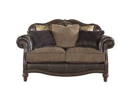 Signature Design by Ashley Winnsboro two tone faux leather and fabric Loveseat in brown 5560235