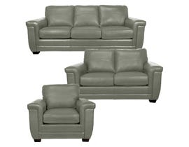 SBF Upholstery Zurick Collection 3Pc Leather Sofa Set in Slate 4395