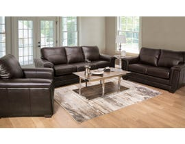 SBF Upholstery Zurick Collection 3Pc Leather Sofa Set in Chocolate 4395