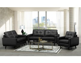 SBF Upholstery 3Pc Fresno Collection Leather Match Sofa Set in Black 5543