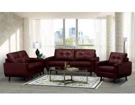 SBF Upholstery 3Pc Fresno Collection Leather Match Sofa Set in Cranberry 5543
