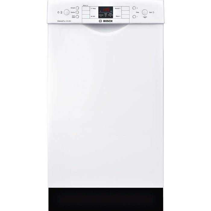 Bosch 18 Inch Special Application Recessed Handle Dishwasher in White SPE53U52UC