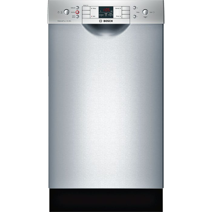 Bosch 18 Inch 44 dBA Special Application Recessed Handle Dishwasher in Stainless Steel SPE68U55UC