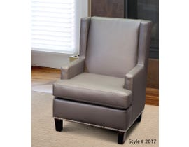 SBF Upholstery Ryan Collection Grey Leather Look Wing Accent chair 2017