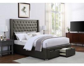 Brassex Luxor Collection King Platform Bed w/Storage in Grey 481