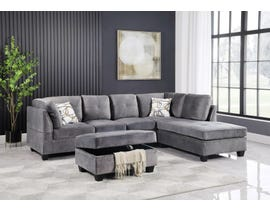 Brassex Sectional with Reversible Chaise and Storage Ottoman in Grey SY2059