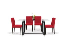 Enzo Studio Design Hopper Collection 5 Piece Dinette with Ruby Chairs in Espresso