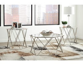 Signature Design by Ashley Madanere Collection 3-1 occasional table set in chrome T015-13