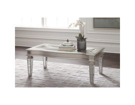 Signature Design by Ashley Tessani wood and glass Rectangular Cocktail Table in silver T099-1