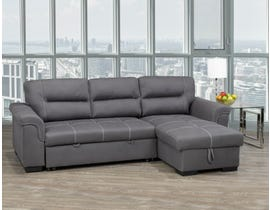 Titus Furniture Pull-Out Sectional with Storage in Grey Air Suede T1217