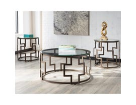 Signature Design by Ashley Frostine Series 3 piece Occasional Table Set dark bronze finish T138-13