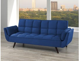 Titus Furniture Velvet Fabric Futon with Deep Tufting in Blue Velvet T1505