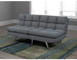 Titus Furniture Linen Fabric Futon with Overstuffed Tufting in Grey T1519