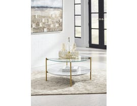 Signature Design by Ashley Wynora Cocktail Table in White & Gold T192-8