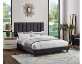 Titus Furniture Velvet Upholstered Bed in Charcoal T2118C