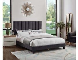 Titus Furniture Velvet Upholstered Bed in Charcoal T2118C