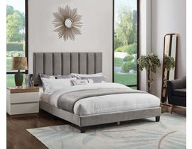 Titus Furniture Velvet Upholstered Bed in Grey T2118G