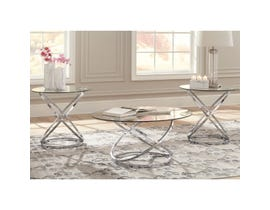 Signature Design by Ashley Hollynyx Collection 3-1 occasional table set in chrome T270-13