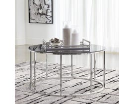 Signature Design by Ashley Clenco Cocktail Table in Black & Chrome T305-8