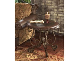 Signature Design by Ashley Rafferty metal and wood Round End Table in brown T382-6