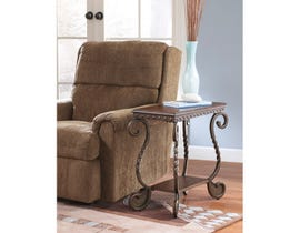 Signature Design by Ashley Rafferty wood and metal Chair Side End Table in brown T382-7