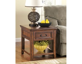 Signature Design by Ashley Woodboro wood Rectangular End Table in brown T478-3
