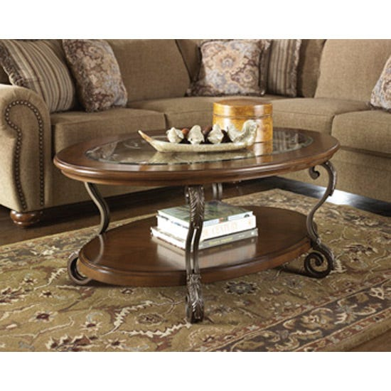 Ashley Glass Coffee Table.Signature Design By Ashley Nestor Oval Wood And Glass Cocktail Table In Brown T517 0