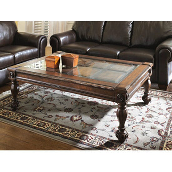 Ashley Glass Coffee Table.Signature Design By Ashley Mantera Wood And Glass Rectangular Cocktail Table In Brown T616 1