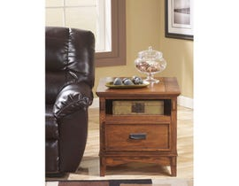 Signature Design by Ashley Cross Island wood Rectangular End Table in brown T719-3