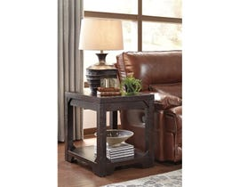 Signature Design by Ashley Rogness wood Rectangular End Table in dark brown T745-3