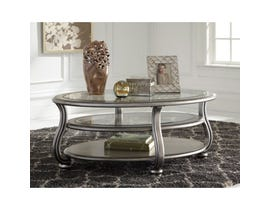 Signature Design by Ashley Coralayne Oval Cocktail Table in silver metalic T820-0