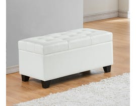 Titus Furniture Upholstered Leatherette Storage Bench in White T826-WH