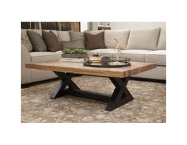 Signature Design by Ashley Wesling wood and metal Rectangular Cocktail Table in light brown T873-1