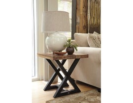 Signature Design by Ashley Wesling wood Square End Table in two tone brown T873-2