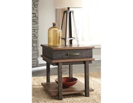Signature Design by Ashley Stanah wood Rectangular End Table in two tone brown T892-3