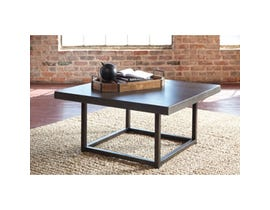 Signature Design by Ashley Starmore cement composite and metal Square Cocktail Table in brown T913-8