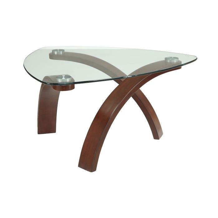 Teagan glass top coffee table in brown