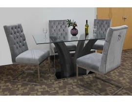 K-Living Thames 5pc Tempered Glass Top And Grey Veneer Leg With Chrome Base Dining Table With Tufted Velvet Chairs in Grey MEG321-GR