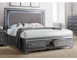 High Society Titanium Series Storage Bed with LED Lights in Gunmetal Grey TT100