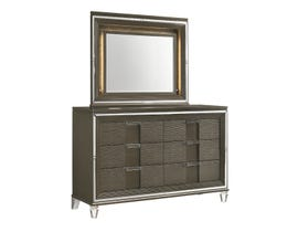 High Society Twenty-Nine Series Dresser and Mirror Set in Grey TN600