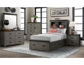 High Society Wade Series 6pc Twin Storage Bedroom Set in Grey WE600