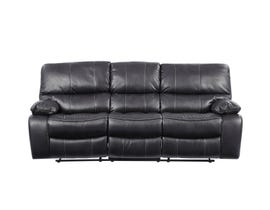 Global Furniture Grey Reclining Sofa With Black Welt