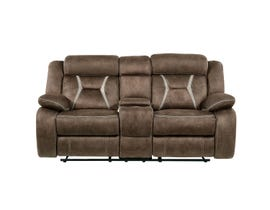 Global Furniture Stitched Fabric Reclining Console Loveseat