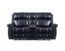 Global Furniture Power Console Reclining Loveseat w/ Pwr Headrest